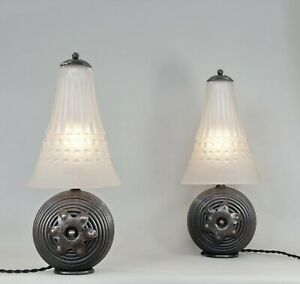 MULLER FRERES : rare pair of FRENCH 1930 ART DECO LAMPS  lamp wrought iron lampe