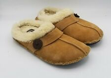Clarks Alina Faux Fur Slipper Shoes Womens Suede Leather Slip On Slides Size 7