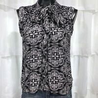Small -  VOLCOM Black and White Floral Medallion Sleeveless Blouse Top