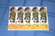 5 Vintage Raphael Tuck & Sons Die Cuts Highland Scottish Pipers Bagpipes Players