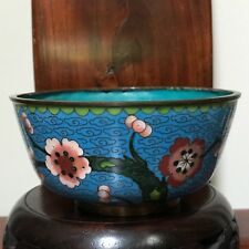 "Sale-Antique Chinese Bowl Cloisonné Plum Tree & Flowers Lotus Border-Mark""CHINA"""