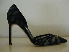 New MANOLO BLAHNIK Tayler Lace Pointed d'orsay Pump Black 37 6.5 NIB $735  shoes