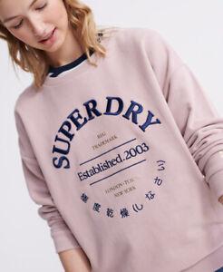 SUPERDRY APPLIQUE SERIF CREW UB SWEATSHIRT ACTIVE WEAR CASUAL TOP BNWT UK 12
