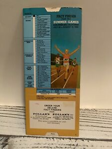 Olympics Summer Games 1984 Fact Finder Card Los Angeles California Pollak's