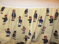 "Rare Classic Ralph Lauren Teddy Bear King Bed Skirt Yellow White Stripe 15"""