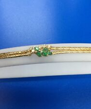 Estate 14k Yellow Gold Emerald And Diamonds Bracelet
