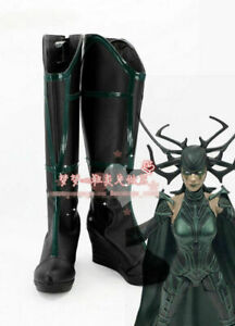 Thor Ragnarok Cosplay Hela Leather Boots Shoes Custom Made