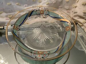 Antique, Rare, Hand Cut & Painted Enamel Glass Bowl, One Of A Kind!