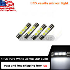 4PCS Cool White 28mm 3SMD 6614F LED Bulbs For Car Sun Visor Vanity Mirror Lights