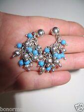 "Native American Sterling Silver Navajo Handmade Dangle Turquoise Earrings 1 3/4"""
