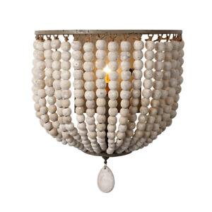 Modern Wood Beads Wall Lamp Bedroom Bedside Wall Light Chandelier Sconce Fixture