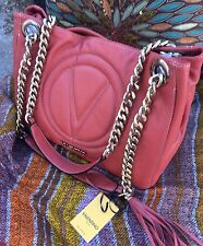 Nwt $1000 Valentino Mario Soft Leather Chain Shoulder Bag Handbag Made in Italy
