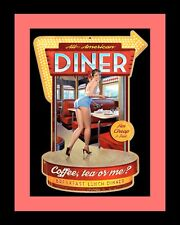 "10"" x 8"" AMERICAN DINER TEA COFFEE OR ME SEXY PIN UP GIRL METAL PLAQUE SIGN N336"