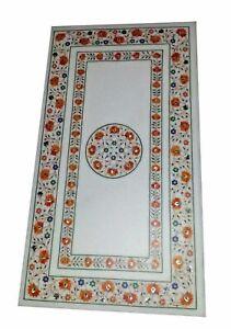 "60"" x 36"" marble dining / coffee Table Top semi precious stone inlay work"