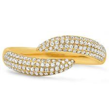 Womens .43CT 14K Yellow Gold Pave Diamond Open Claw Wrap Statement Ring Fashion