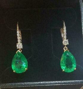 3 Ct Pear Cut Green Emerald Diamond Drop/Dangle Earrings 14K Yellow Gold Finish