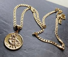 Gold gf St. Christopher Pendant Necklace curb Chain Gold Boys Mens