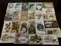 ~Estate~Lot of 25~CHRISTMAS & NEW YEAR'S~BIRDS~ Antique~BIRD Postcards-b21
