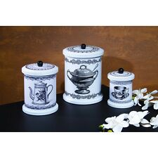 New French Country Shabby Cottage Chic COFFEE TEA CANISTER SET 3 Tin Canisters