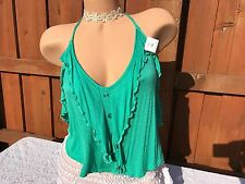 Green Sexy Ruffle Crop Top Blouse Spaghetti Strap Rayon Soft Stretchy Jr XLarge
