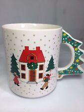 Holiday Christmas Tree Handle Winter House Wreath Coffee Tea Cup Mug