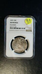 1875 SEATED LIBERTY HALF NGC AU SILVER 50C Coin PRICED TO SELL!