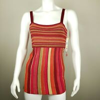 Anne Klein Textured Striped Long Tank Top Slinky Knit Shirt Size Small NWT