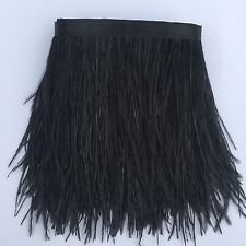 Sowder Black Ostrich Feathers Trims Fringe With Satin Ribbon Tape for Dress New