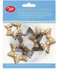 3 x Tala Plain Star Biscuits Cookie Pastries Cutters Baking Stainless Steel New