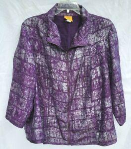 Ruby Rd Lightweight Jacket Women's Size 24W Purple Silver Lined Zip Plus Size