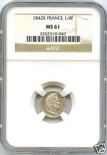 LOUIS PHILIPPE I (1830-1848) 1/4 FRANCS 1842 K BORDEAUX NGC MS61