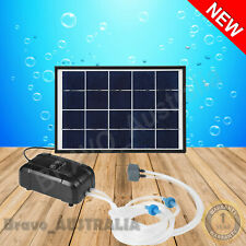 Solar Power Oxygen Aerator Pump 20W Fish Pond Tank Garden w/ 2 Water Air Stone