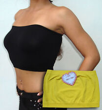 Seamless Strapless Bandeau Tube Top Bra No Pads YELLOW - FREE SHIPPING to USA