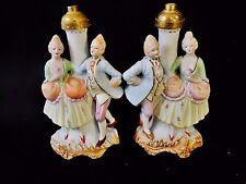 2 PC Japan Victorian Colonial Couple Figurine Boudoir Lamp Bases