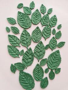 Edible Sugar Mixed Leaves in Dark Green