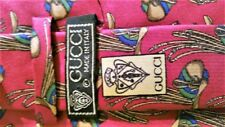 AUTHENTIC GUCCI VINTAGE RED MULTI-COLOR POLO HORSE SADDLE PRINT SILK TIE~MINT!