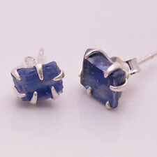 925 Sterling Silver Stud Earrings, Raw Kyanite Handcrafted Jewelry RSE421