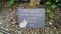 Personalised Engraved Slate Stone  Pet Memorial Grave Marker Plaque Rabbit