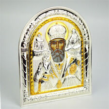 Religious Holy Gold St Nicholas Saint Silver Plated Metal Standing Plaque