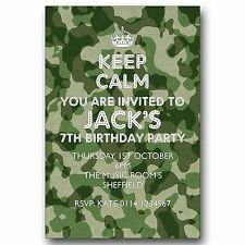 10 Personalised Birthday Party Invitations Army Camouflage Keep Calm K56