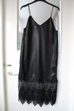 Top Shop strappy camisole super sexy black dress with embroidery in size uk4