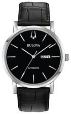 Bulova Clasic American Clipper Automatic Black Dial LTHR Band Men Watch 96C131