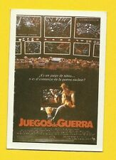 War Games Juegos de Guerra Vintage 1984 Spanish Movie Film Collector Card