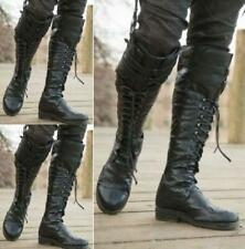 Women Casual Comfort Knee High Riding Boots Chunky Heel Shoes Solid Street 38-48