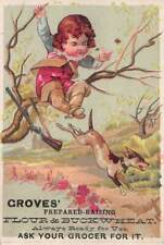 Nouvelle annonce Groves Prepared-Raising Flour & Buckwheat Early Trade Card, Size: 102 mm x 70 mm