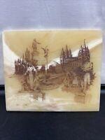 "Vtg LDS Mormon Carved Art Of Salt Lake Temple, Prophet Singed 6""x5"""