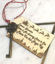 Santa Magic Key - Ornate Key with Deluxe Santa Poem Tag Wooden Handmade x 1PC