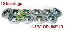 """10 BEARINGS, FLANGED 5/8"""" ID x 1-3/8"""" OD LAWNMOWERS, GARDEN WAGONS AND MORE"""