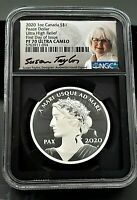 2020 CANADA PEACE DOLLAR, UC, UHR, 1 Oz Silver  NGC PF70 FDI w/ signature & COA