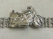 Hollywood Polo Men Silver Motorcycle Watch Covered Dial Silver Biker Chain Band!